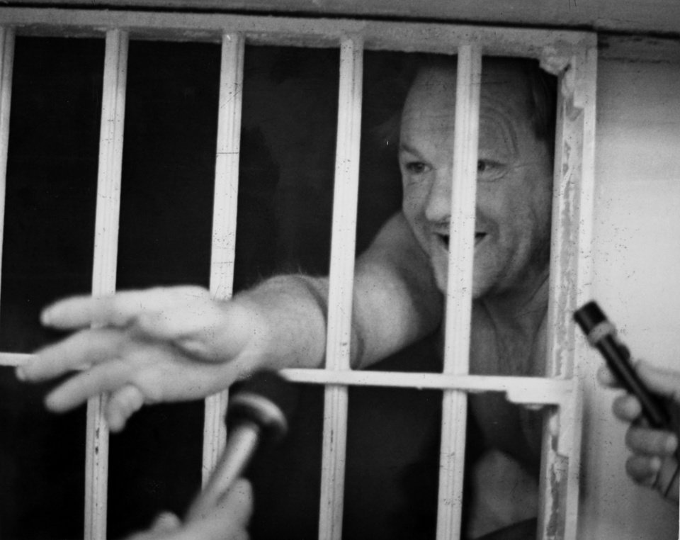 Reporters interview Rex Brinlee Jr. in the Oklahoma State Penitentiary on Feb. 8, 1974. Brinlee was convicted of murder in connection with the bombing death of a Bristow kindergarten teacher. While serving his time at the Oklahoma State Penitentiary, he escaped twice. Copy of a print from The Oklahoman Archive, Tuesday, Dec. 6, 2011.