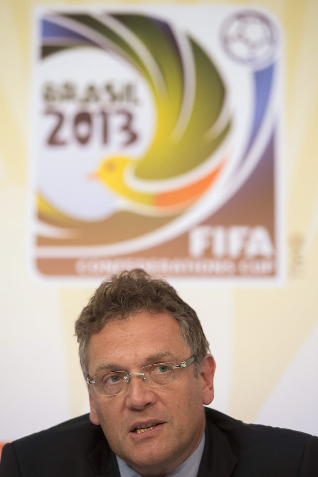 Photo - FIFA's General Secretary Jerome Valcke speaks during the soccer Confederations Cup wrap-up press conference in Rio de Janeiro, Brazil, Monday, July 1, 2013. (AP Photo/Felipe Dana)
