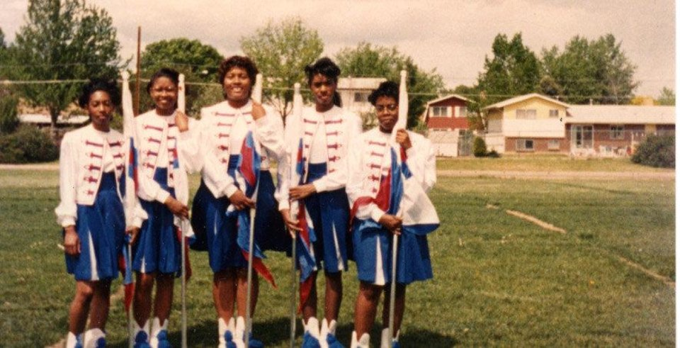 In this vintage photograph from the 1980s, members of the Millwood High School marching band flag corp. pose for a picture. Photo provided <strong></strong>