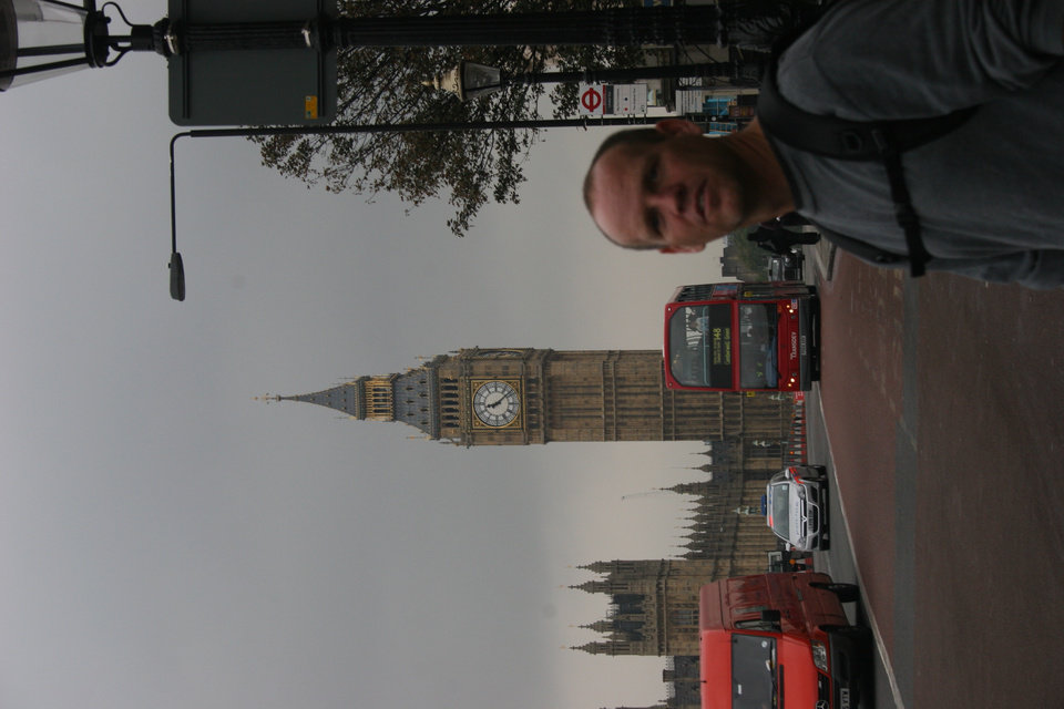 Robert McCoy (38)standing with Big Ben and a double decker bus in London, England 2006<br/><b>Community Photo By:</b> Janna McCoy<br/><b>Submitted By:</b> Janna, Choctaw