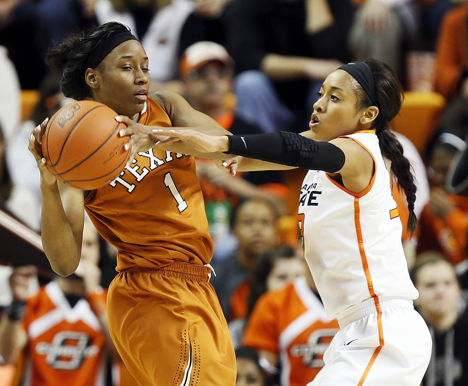 Photo - Oklahoma State's Tiffany Bias (3) pressures Texas' Empress Davenport (1) during a women's college basketball game between Oklahoma State University (OSU) and the University of Texas at Gallagher-Iba Arena in Stillwater, Okla., Saturday, March 2, 2013. Photo by Nate Billings, The Oklahoman