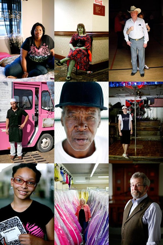 Photo -  From top left; Dacia Wallace, Tabitha Croslin, Tommy Keirsey, Marco Perez, James Holdman, Justin Morris, Alexandria Jovan Sliger, Kimberly Butler, and Rabbi Marc Fitzerman. Photographed for the Everyday People photo project. JOHN CLANTON/Tulsa World