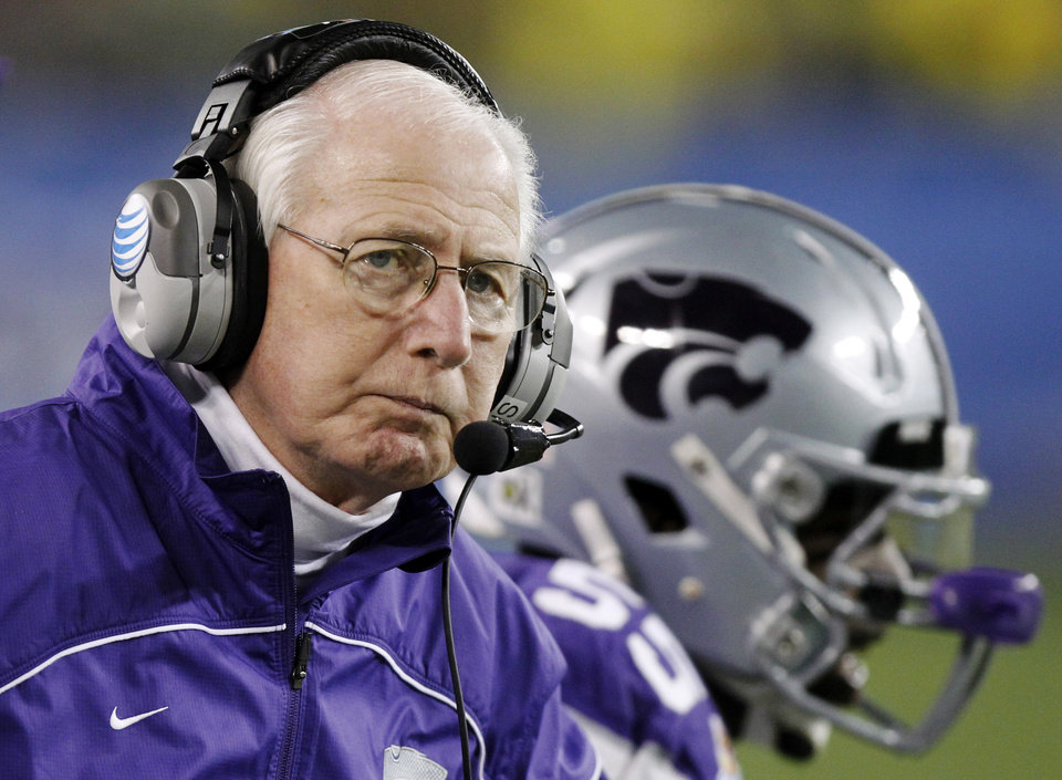 Kansas State head coach Bill Snyder looks away during the second half of the Fiesta Bowl NCAA college football game against Oregon, Thursday, Jan. 3, 2013, in Glendale, Ariz. (AP Photo/Paul Connors)