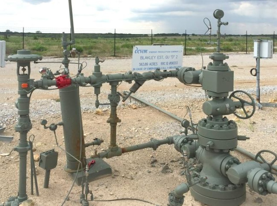 Photo -  The Blakely Estate D 2 well near Haslet (about 15 miles north of Fort Worth) was drilled and completed by Devon in 2002, shortly after it acquired its Barnett Shale assets from Mitchell Energy. It has the distinction of being the first well where an exploration and production company successfully combined horizontal drilling and hydraulic fracturing to commercially produce fossil fuels from shale. [PROVIDED]