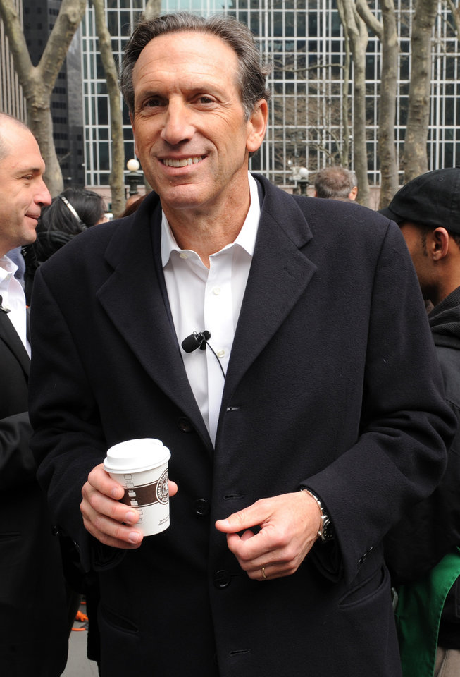 Photo - Starbucks Chairman, President, and Chief Executive Officer Howard Schultz introduces the new Pike Place Roast at a replica of the original Starbucks store that was built in Bryant Park in New York, Tuesday, April 8, 2008. Starbucks Corp. will start serving up a new