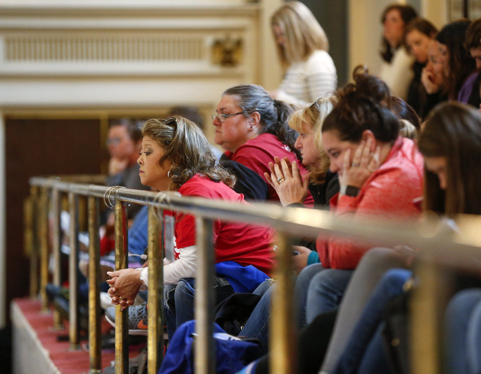 Photo - People fill the gallery in the Senate chamber during the fifth day of a walkout by Oklahoma teachers at the state Capitol in Oklahoma City, Friday, April 6, 2018. Photo by Nate Billings, The Oklahoman