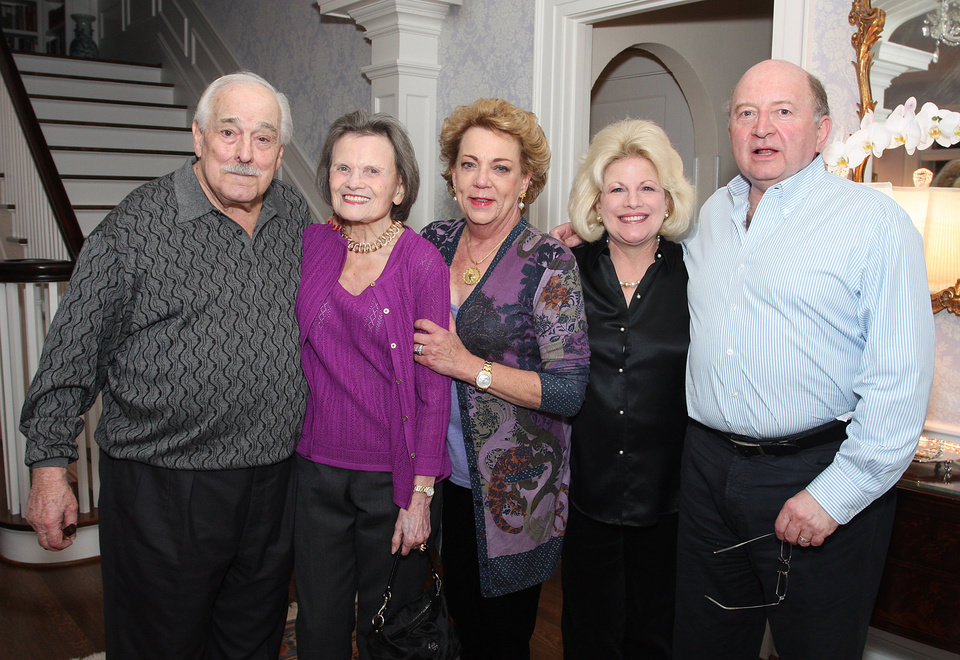 Byron and Pat Gambulos, Barbara Beeler, Debby and Paul Dudman were at the holiday party in the Dudman home. (Photo by David Faytinger).