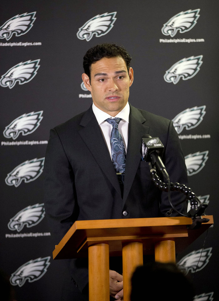 Photo - Philadelphia Eagles quarterback Mark Sanchez speaks during a news conference at the NFL football team's training facility, Friday, March 28, 2014, in Philadelphia. Sanchez agreed to a one-year contract with the Eagles after the New York Jets signed Michael Vick last Friday. (AP Photo/Matt Rourke)