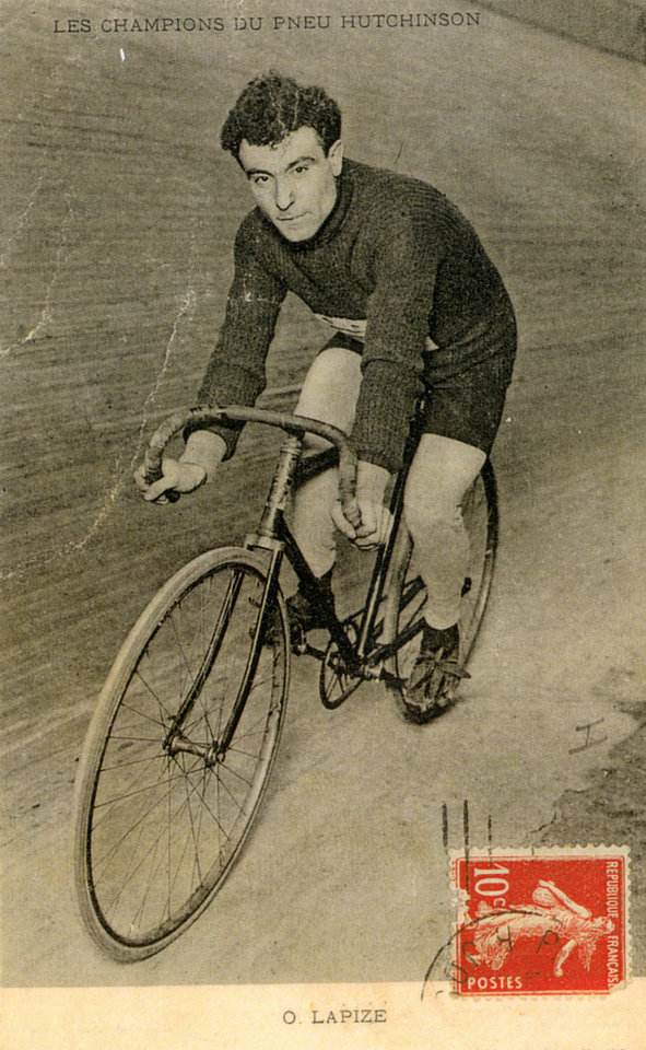 Photo - In this undated photo provided by the WielerMuseum Roeselare, French cyclist and 1910 Tour de France winner Octave Lapize rides his bike. Three former winners of the Tour de France; Octave Lapize, Francois Faber and Lucien Petit-Breton all died fighting in World War I. (AP Photo/Wielermuseum)