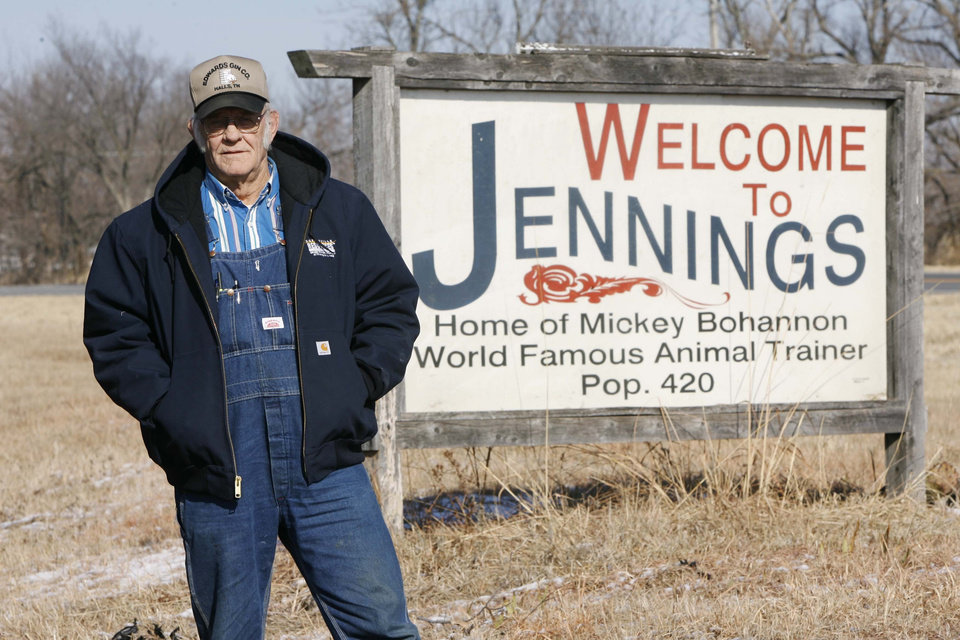 Former retired animal trainer for Ringling Bros. Circus, Mickey Bohannon next to a sign on Highway 99 south of Jennings which honors him, taken in Jennings, Okla. on January 12,2011. JAMES GIBBARD/Tulsa World ORG XMIT: DTI1101121531410021