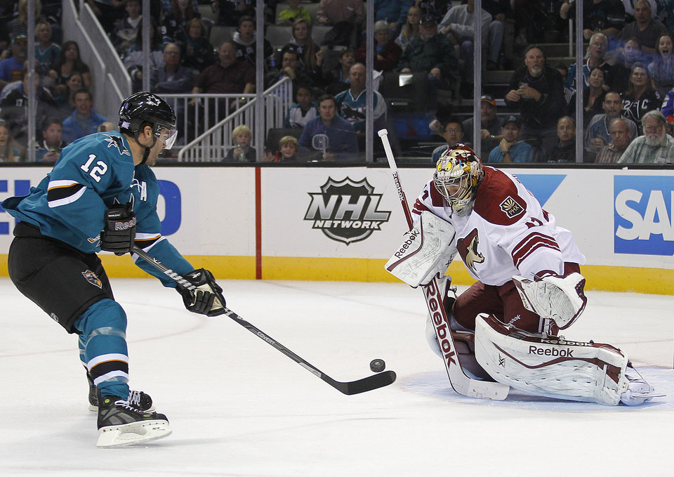 Phoenix Coyotes goalie Mike Smith (41) block a goal-attempt by San Jose Sharks center Patrick Marleau (12) during the first period an NHL hockey game in San Jose, Calif., Saturday, Oct. 5, 2013. (AP Photo/Tony Avelar)