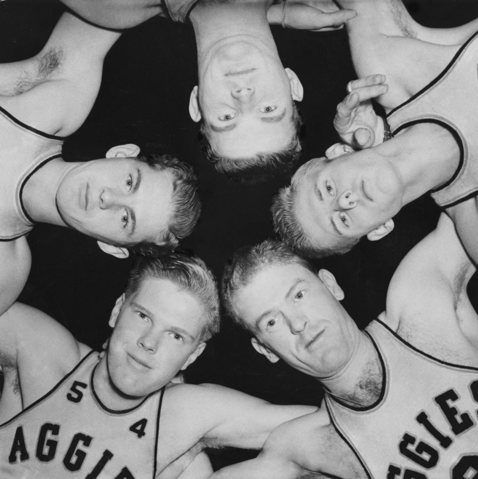 Photo - Bob Kurland, lower left wearing No. 54, poses with teammates from the 1943 Oklahoma A&M team. Kurland passed away on Sunday. Also pictured, in clockwise order, the players are Jack Hance, Danny Doyle, Tom Jaquet and Floyd Burdette. OKLAHOMAN ARCHIVE PHOTO  UNKNOWN