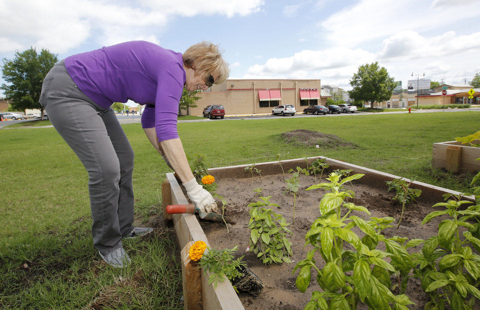 Photo -  Trish O'Brien works in the new community garden at Wesley United Methodist Church, 1401 NW 25. Photo By Steve Gooch, The Oklahoman   Steve Gooch