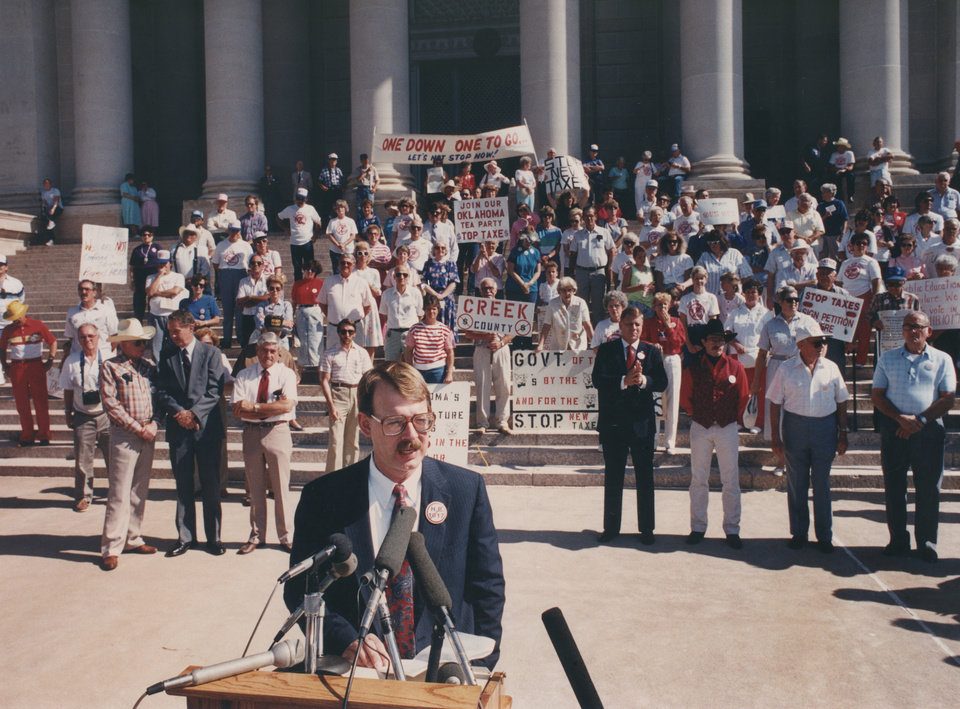 20th ANNIVERSARY OF HB-1017. Dan Brown, chairman of STOP New Taxes, speaks at an anti-tax rally at the state Capitol. Photo taken July 16, 1990. by Jim Beckel, The Oklahoman