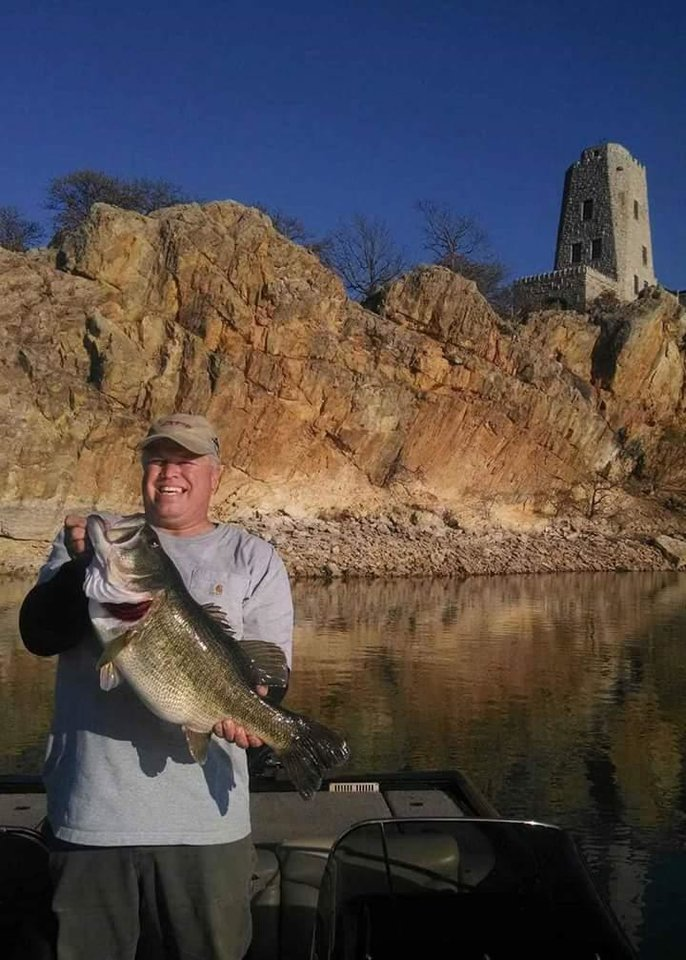 Photo -  Charles Jewell holds the new lake record on Lake Murray, a 12.3-pound largemouth
