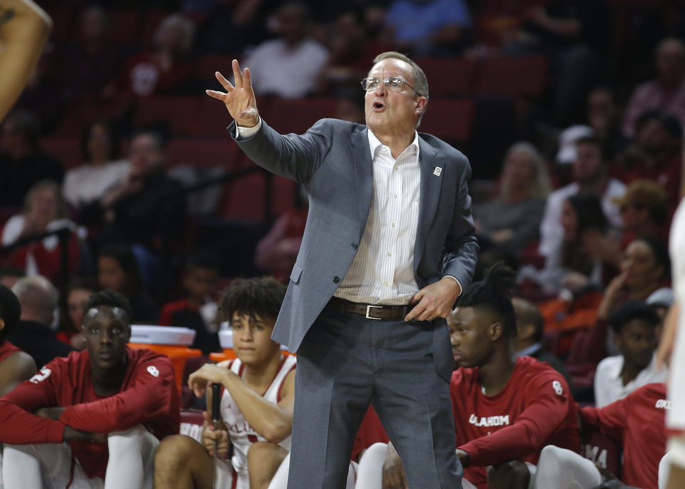 Photo - Oklahoma coach Lon Kruger shouts instructions during an NCAA basketball game between the University of Oklahoma Sooners (OU) and the Iowa State Cyclones at the Lloyd Noble Center in Norman, Okla., Wednesday, Feb. 12, 2020. [Bryan Terry/The Oklahoman]