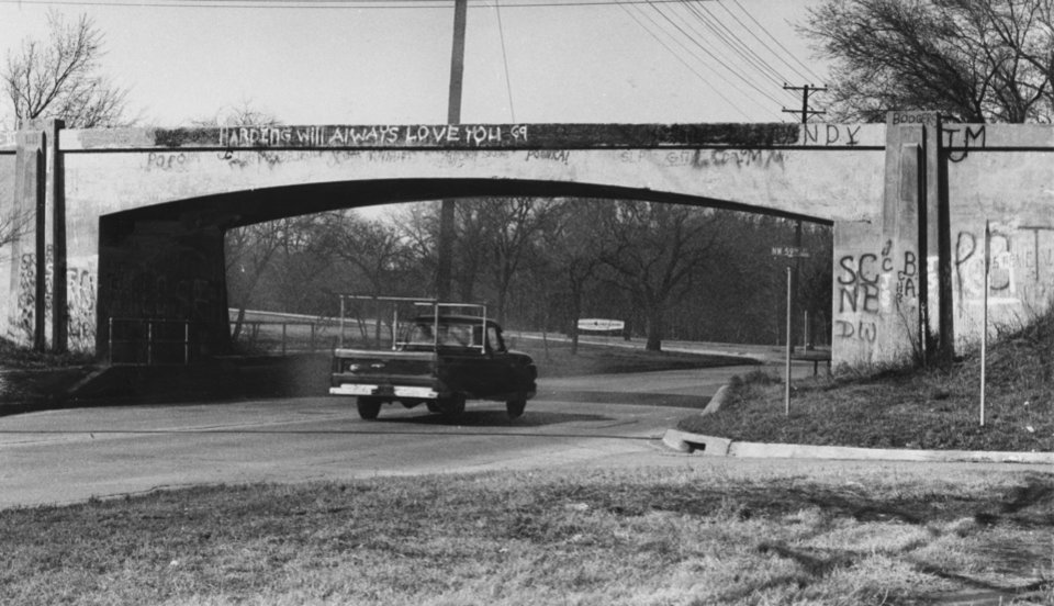 Photo - BEFORE, underpass on N Western as it is now.  Staff photographer unknown.  Photo undated and published on 03/08/1968 in The Oklahoma City Times.