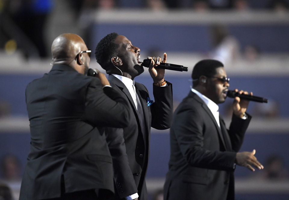 Photo - Boyz II Men perform during the first day of the Democratic National Convention in Philadelphia , Monday, July 25, 2016. (AP Photo/Mark J. Terrill)