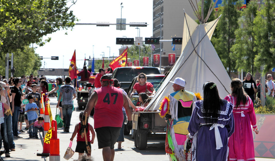 A teepee on a trailer in the Red Earth parade, Friday, June 7, 2013. Photo by David McDaniel, The Oklahoman