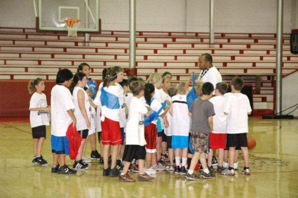 Photo - A Mountain View-Gotebo elementary school basketball camp concluded Wednesday. The small school district will struggle financially next school year becasue of a paperwork error. Photo provided Mountain View-Gotebo Public Schools.  Provided