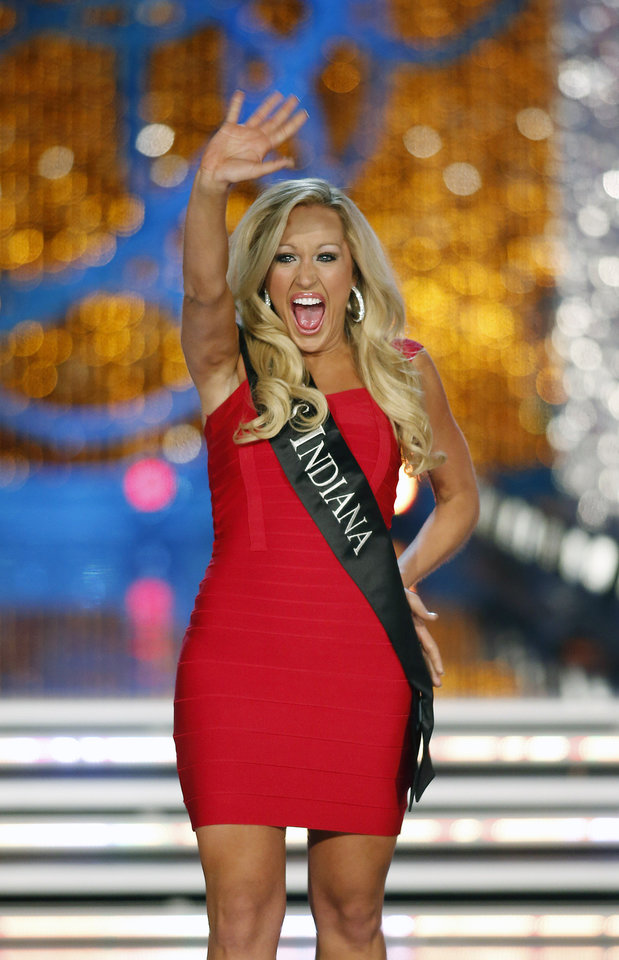 Photo - Miss Indiana MerrieBeth Cox competes in the Miss America pageant on Saturday, Jan. 12, 2013, in Las Vegas. (AP Photo/Isaac Brekken)