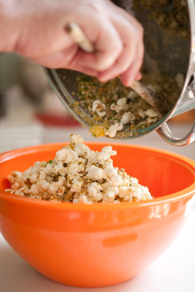 Photo - Popcorn is a centuries-old simple food that has gone gourmet. This nutty-cheese popcorn features parmesan, pistachios and cashews. (Renne Brock/Atlanta Journal-Constitution/MCT)