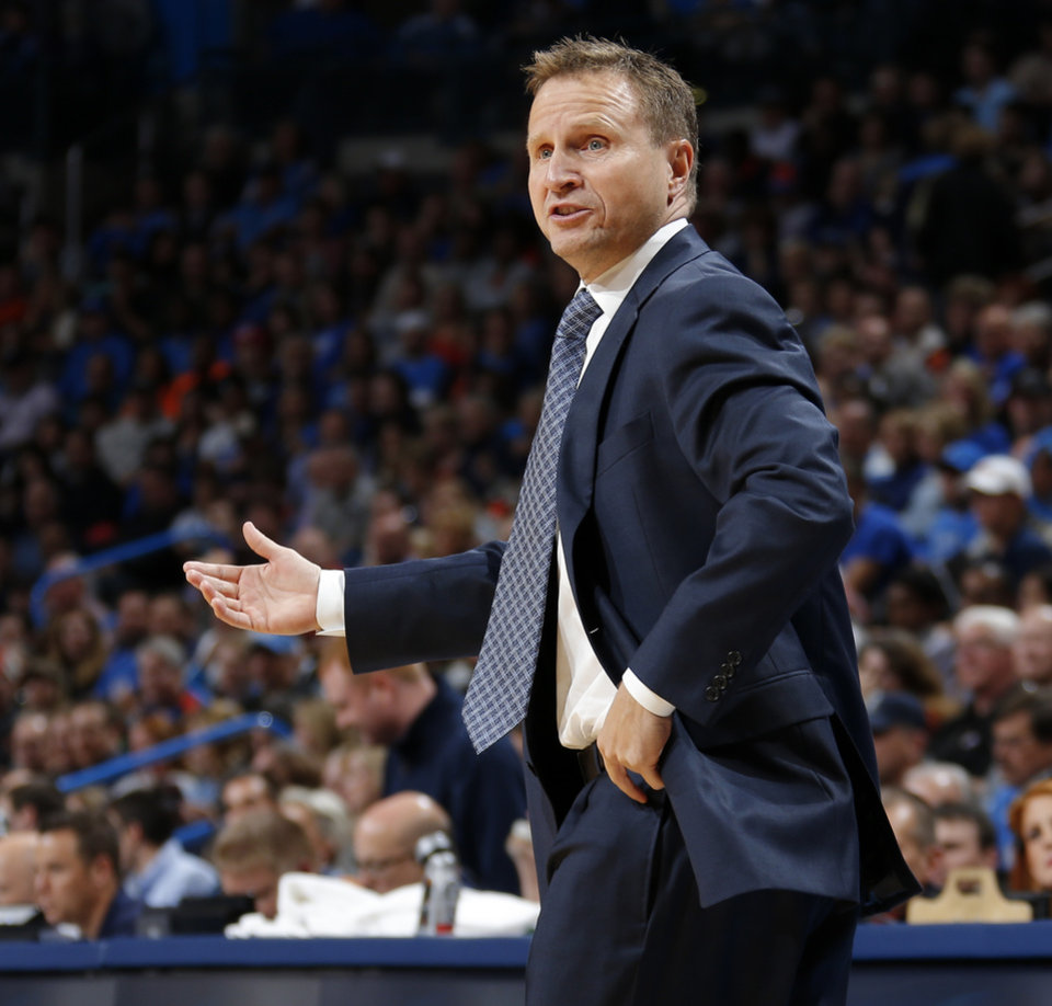 Oklahoma City coach Scott Brooks argues a call during an NBA basketball game between the Oklahoma City Thunder and the Phoenix Suns at Chesapeake Energy Arena in Oklahoma City, Sunday, Nov. 3, 2013. Oklahoma City won 103-96. Photo by Bryan Terry, The Oklahoman