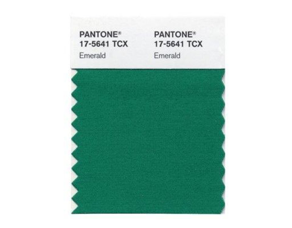 This emerald green color swatch released by Pantone is Pantone LLC\'s Color of the Year for 2013, beating out all the other shades of the rainbow. (AP Photo/Pantone)
