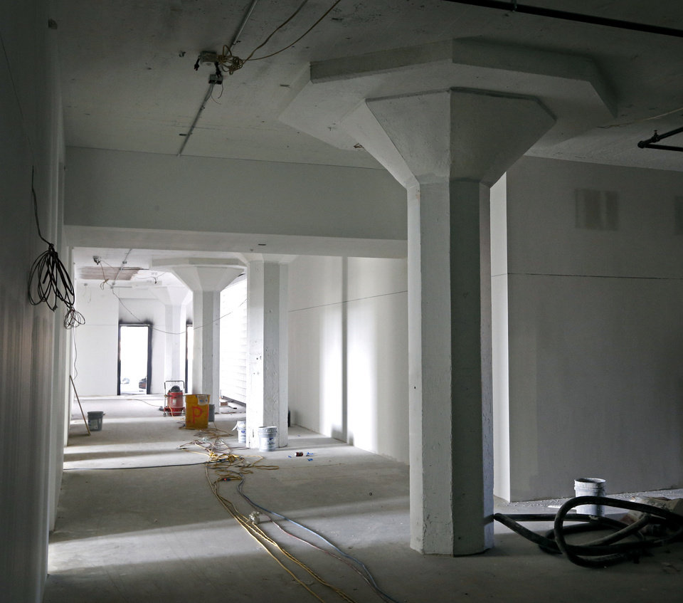 Photo -  Original concrete columns are retained as part of the conversion of the former Ford Model T assembly plant downtown into a 21c Museum Hotel.Photo by Steve Sisney, The Oklahoman