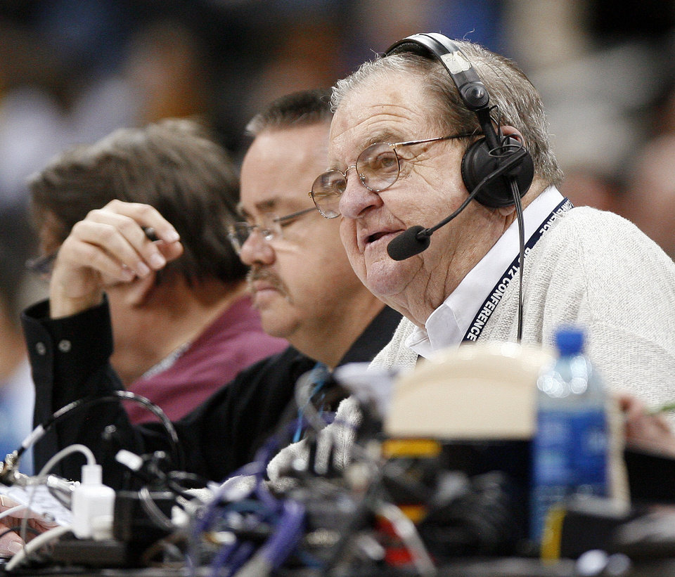 Photo - Radio play-by-play voice Bob Barry Sr. calls his last game during the college basketball Big 12 Championship tournament game between the University of Oklahoma and Texas in Kansas City, Mo., Thursday, March 10, 2011.  Photo by Bryan Terry, The Oklahoman