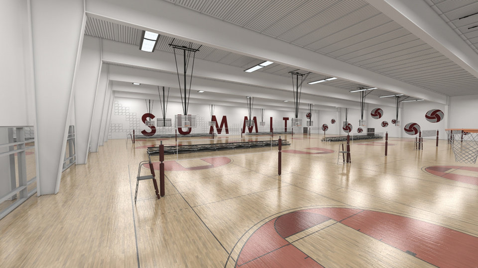 An artist rendering of a volleyball court at Summit Sports Complex which will be at I-35 and Covell in Edmond, Okla., with a planned opening of the summer of 2015.