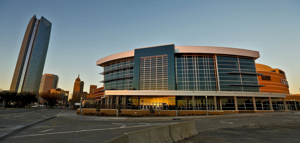 Photo - The new southwest entrance to the Chesapeake Energy Arena is seen Wednesday during the NBA basketball game between the Oklahoma City Thunder and the New Orleans Hornets at the Chesapeake Energy Arena. Photo by Chris Landsberger, The Oklahoman
