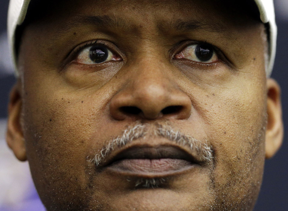 Baltimore Ravens offensive coordinator Jim Caldwell listens at a news conference at the team's training facility in Owings Mills, Md., Friday, Jan. 25, 2013. The Ravens are scheduled to face the San Francisco 49ers in NFL football's Super Bowl XLVII in New Orleans on Sunday, Feb. 3. (AP Photo/Patrick Semansky)