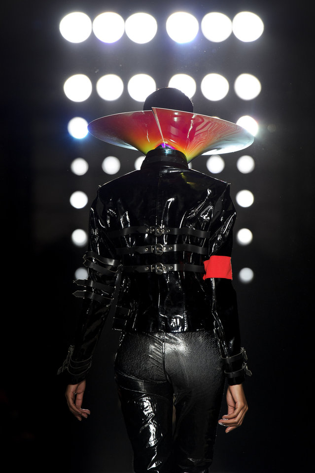 Photo -   A model wears a design from the Philip Treacy Spring/Summer 2013 collection during London Fashion Week, Sunday, Sept. 16, 2012. (AP Photo/Jonathan Short)