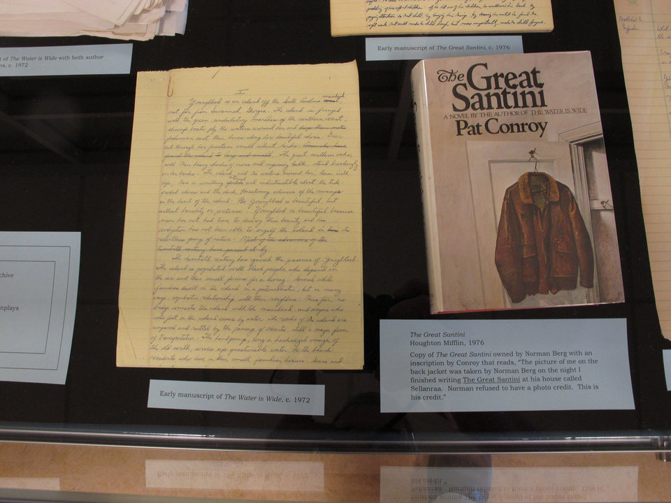 Photo - In this May 8, 2014 photo, a handwritten copy of part of author Pat Conroy's book