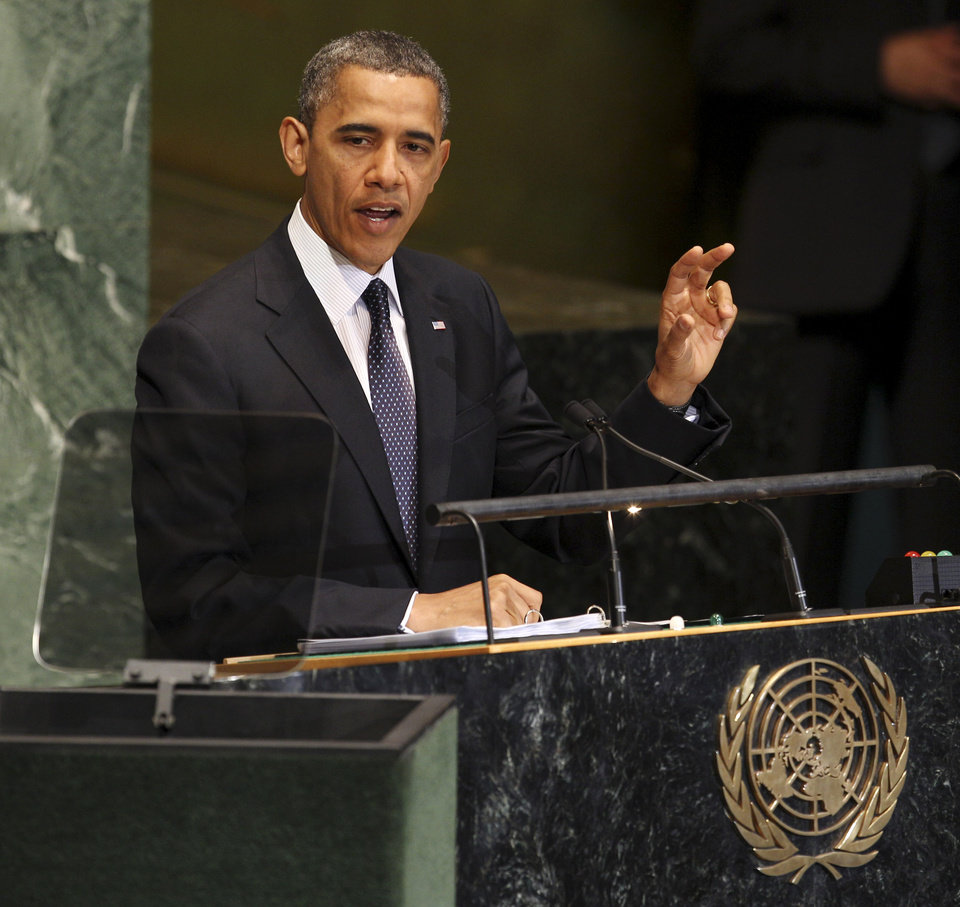 Photo -   President Barack Obama addresses the 67th session of the General Assembly at United Nations headquarters, Tuesday, Sept. 25, 2012. (AP Photo/Seth Wenig)