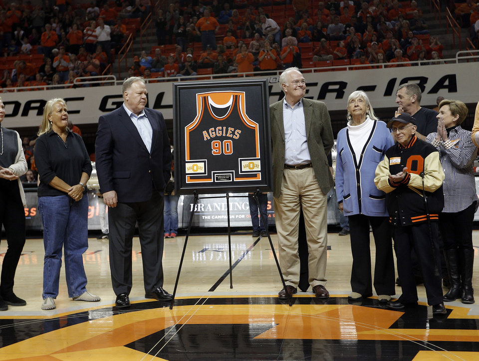 Photo - Oklahoma State retired Bob Kurland during the men's college basketball game between Oklahoma State and Texas Tech at Gallagher-Iba Arena in Stillwater, Okla., Saturday, Feb. 22, 2014. OSU won 84-62. 
