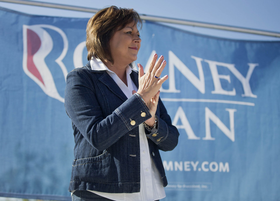 New Mexico Gov. Susana Martinez speaks to supporters for presidential candidate Mitt Romney during a rally, Saturday, Oct. 13, 2012, in Las Vegas. Martinez spoke to a group of volunteers who gathered to canvass for the Romney campaign. (AP Photo/Julie Jacobson)