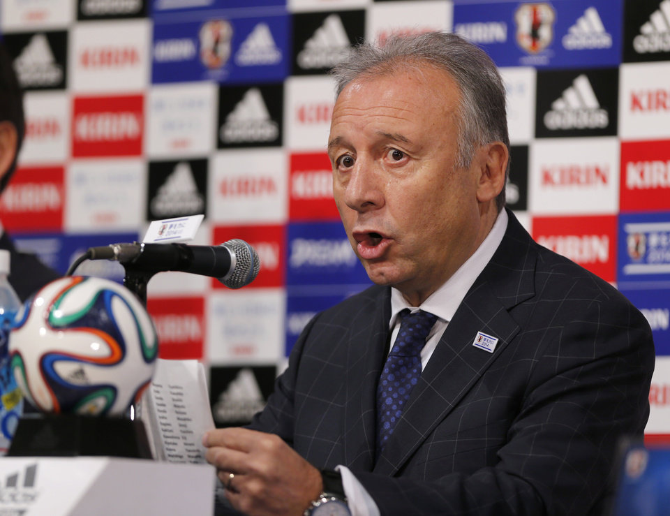 Photo - Japan national team coach Alberto Zaccheroni speaks during a press conference as Japan names its World Cup squad in Tokyo, Monday, May 12, 2014. Japan is drawn in a Group C with Ivory Coast, Greece and Colombia at the World Cup in Brazil. (AP Photo/Shuji Kajiyama)