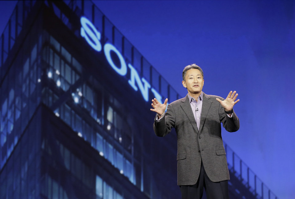 Photo - FILE - In this  Tuesday, Jan. 7, 2014, file photo, Sony Corporation president and CEO Kazuo Hirai speaks during a keynote address at the International Consumer Electronics Show, in Las Vegas.  Sony reports quarterly earnings on Thursday, Feb. 6, 2014.(AP Photo/Julie Jacobson, File)