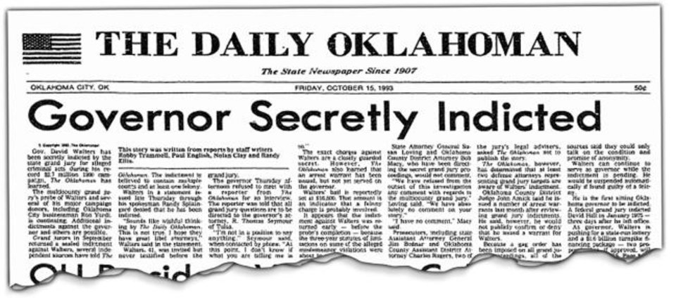 Photo -  The 1993 story revealing that a sitting governor had been indicted was one of the biggest scoops in the newspaper's long history. The newspaper attributed the information to