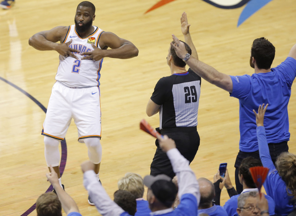 Photo - Oklahoma City's Raymond Felton (2) celebrates after a 3-pointer during Game 4 in the first round of the NBA playoffs between the Portland Trail Blazers and the Oklahoma City Thunder at Chesapeake Energy Arena in Oklahoma City, Sunday, April 21, 2019. Photo by Bryan Terry, The Oklahoman