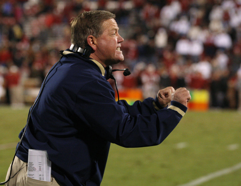 Notre Dame coach Brian Kelly shouts during the college football game between the University of Oklahoma Sooners (OU) and the Notre Dame Fighting Irish at Gaylord Family-Oklahoma Memorial Stadium in Norman, Okla., Saturday, Oct. 27, 2012. Oklahoma lost 30-13. Photo by Bryan Terry, The Oklahoman