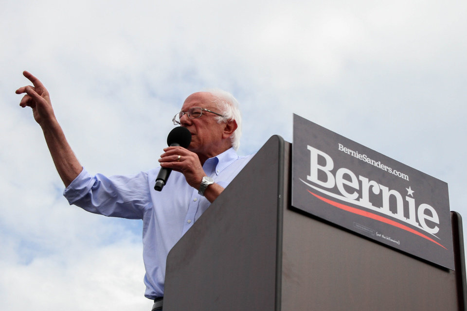 Photo - Democratic presidential candidate and Vermont Senator Bernie Sanders talks to a crowd during a rally at Reaves Park in Norman, Oklahoma Sept. 22, 2019. [Paxson Haws/The Oklahoman]