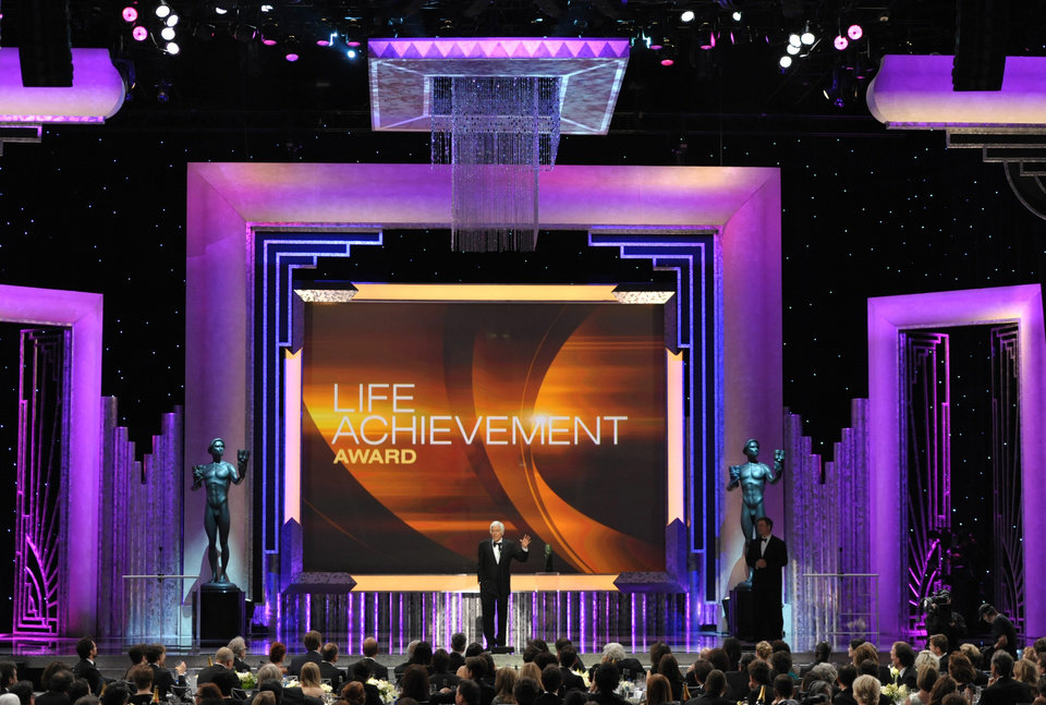 Photo - Dick Van Dyke accepts the Screen Actors Guild Life Achievement Award at the 19th Annual Screen Actors Guild Awards at the Shrine Auditorium in Los Angeles on Sunday Jan. 27, 2013. (Photo by John Shearer/Invision/AP)