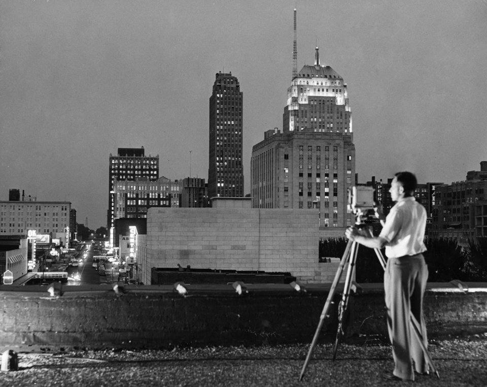 OKLAHOMA CITY / SKY LINE / OKLAHOMA:  No caption.  Staff photo by Thomas F. Killian.  Photo dated 07/22/1949 and unpublished.  Photo arrived in library on 08/11/1949.