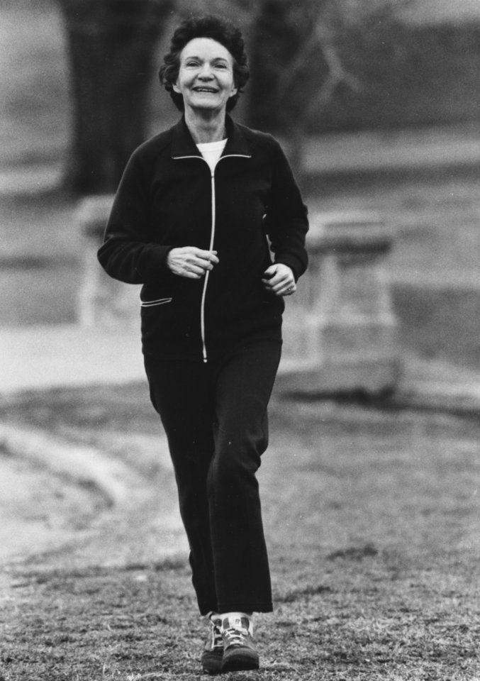 OKLAHOMA CITY MAYOR / PATIENCE SEWELL LATTING / MAYOR OF OKLAHOMA CITY / MRS. TRIMBLE: Photo of Patience Latting on a jog. Staff photo by Jim Argo and dated 3/21/1979. 4/11/1979 - date listed on back of photo with no other information to determine its significance.