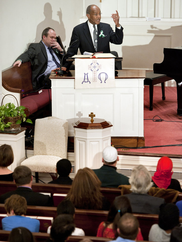 Photo - The Rev. James A. Forbes Jr. delivers a sermon at Newtown Congregational Church in Newtown, Conn., Sunday, Jan. 20, 2013. Forbes, who led one of the country's most prominent liberal Protestant churches,  is speaking in Newtown to honor the victims of last month's school shooting and the legacy of the Rev. Martin Luther King Jr. (AP Photo/Jessica Hill)