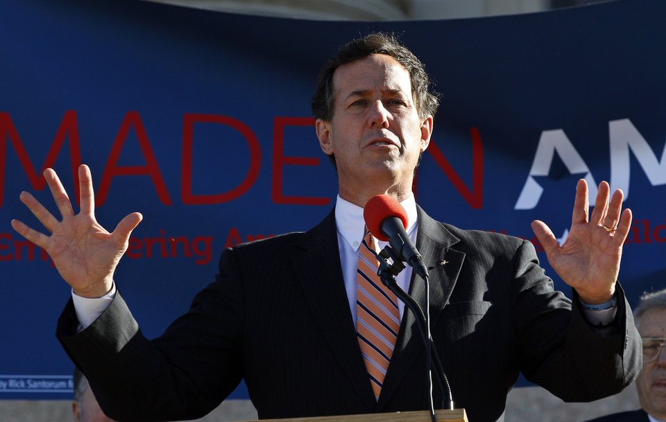 Photo - Republican presidential candidate former Pennsylvania Sen. Rick Santorum, gestures as he speaks in Oklahoma City, Sunday, March 4, 2012. (AP Photo/Sue Ogrocki) ORG XMIT: OKSO107