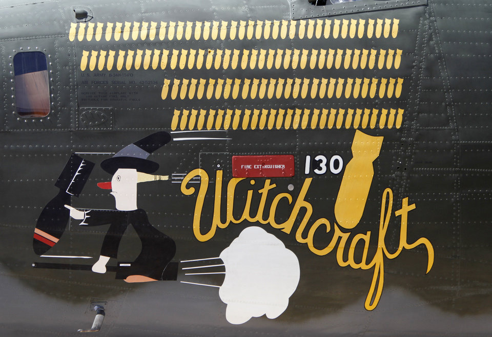 Nose art from a B-24 Liberator on display at Wiley Post Airport in Oklahoma City , Friday April 5, 2013.The Wings of Freedom National Tour will be on display all weekend at Wiley Post Airport. Photo By Steve Gooch, The Oklahoman
